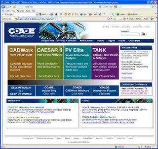 COADE website featuring CADWorx, CAESAR II, PV Elite and TANK